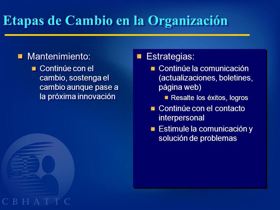 Etapas de Cambio en la Organización Mantenimiento: Continúe con el cambio, sostenga el cambio aunque pase a la próxima innovación Mantenimiento: Conti