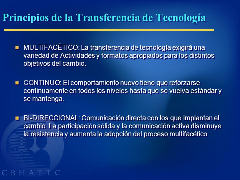Principios de la Transferencia de Tecnología MULTIFACÉTICO: La transferencia de tecnología exigirá una variedad de Actividades y formatos apropiados p