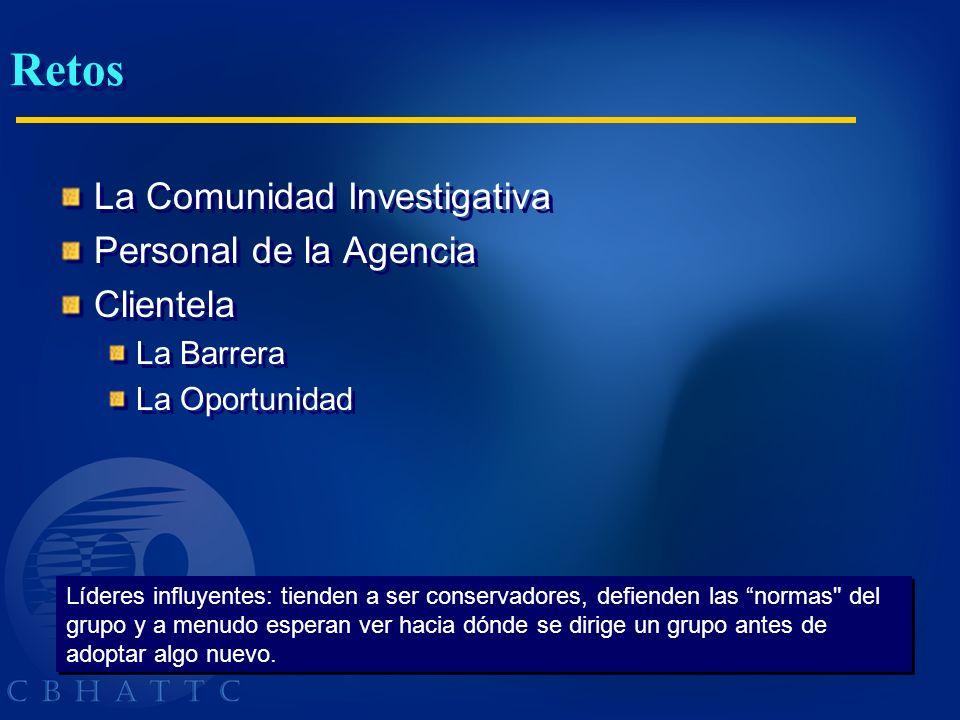 Retos La Comunidad Investigativa Personal de la Agencia Clientela La Barrera La Oportunidad La Comunidad Investigativa Personal de la Agencia Clientel