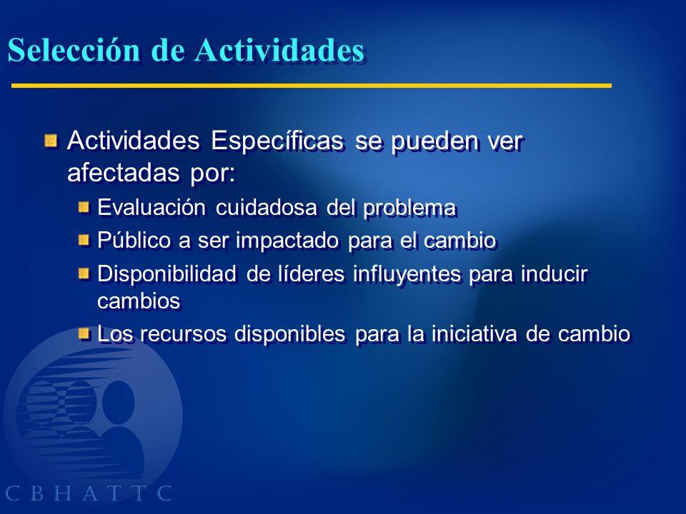 Selección de Actividades Actividades Específicas se pueden ver afectadas por: Evaluación cuidadosa del problema Público a ser impactado para el cambio