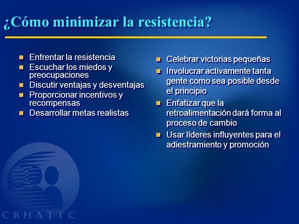 ¿Cómo minimizar la resistencia? Enfrentar la resistencia Escuchar los miedos y preocupaciones Discutir ventajas y desventajas Proporcionar incentivos