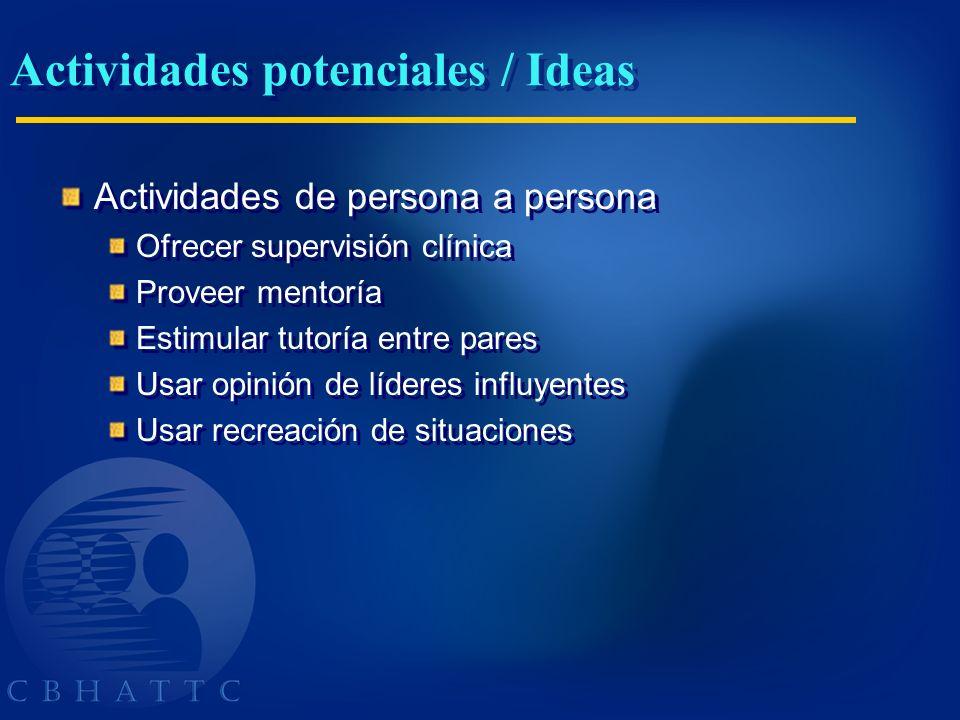 Actividades potenciales / Ideas Actividades de persona a persona Ofrecer supervisión clínica Proveer mentoría Estimular tutoría entre pares Usar opini