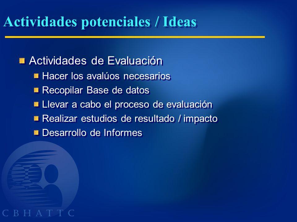 Actividades potenciales / Ideas Actividades de Evaluación Hacer los avalúos necesarios Recopilar Base de datos Llevar a cabo el proceso de evaluación