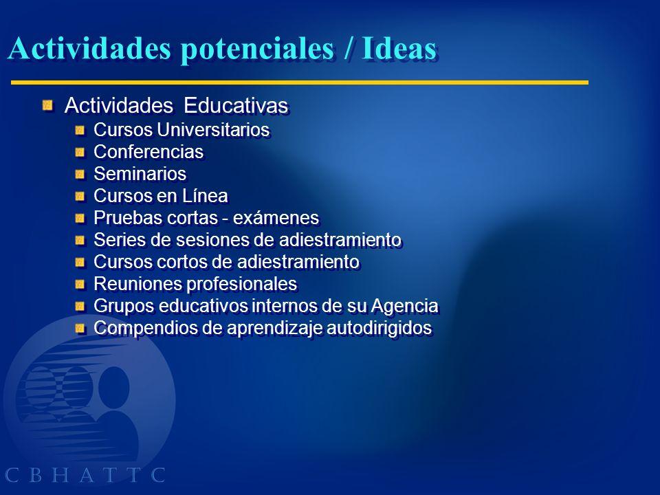Actividades potenciales / Ideas Actividades Educativas Cursos Universitarios Conferencias Seminarios Cursos en Línea Pruebas cortas - exámenes Series