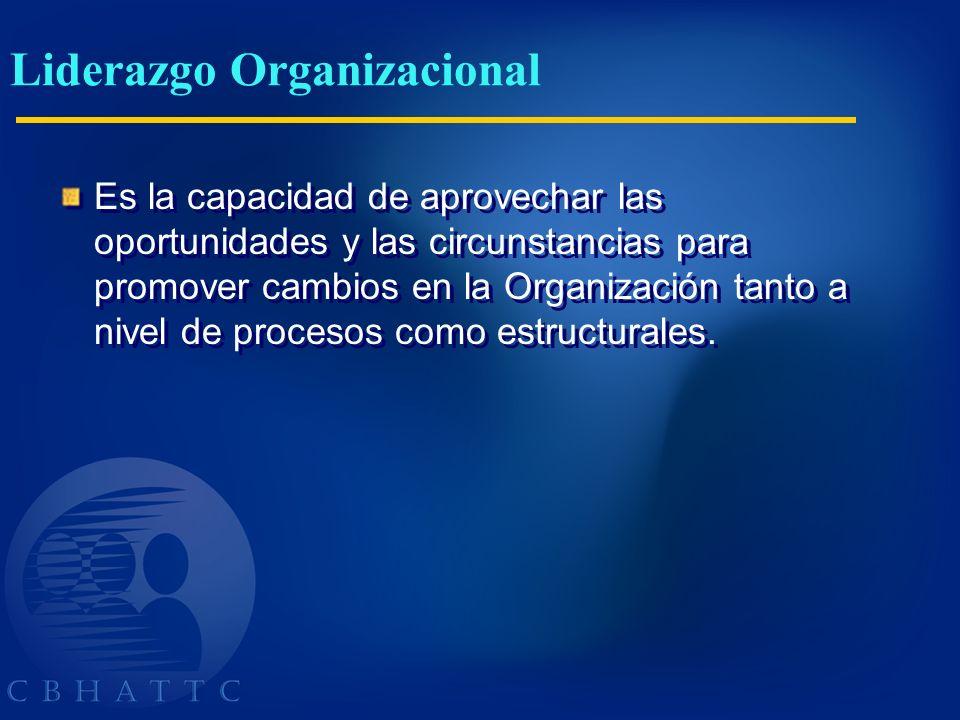 Liderazgo Organizacional Es la capacidad de aprovechar las oportunidades y las circunstancias para promover cambios en la Organización tanto a nivel d
