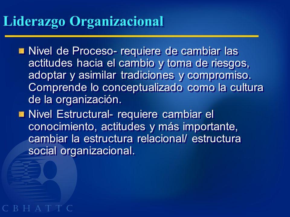 Liderazgo Organizacional Nivel de Proceso- requiere de cambiar las actitudes hacia el cambio y toma de riesgos, adoptar y asimilar tradiciones y compr