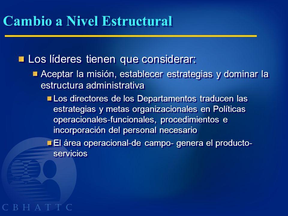 Cambio a Nivel Estructural Los líderes tienen que considerar: Aceptar la misión, establecer estrategias y dominar la estructura administrativa Los dir