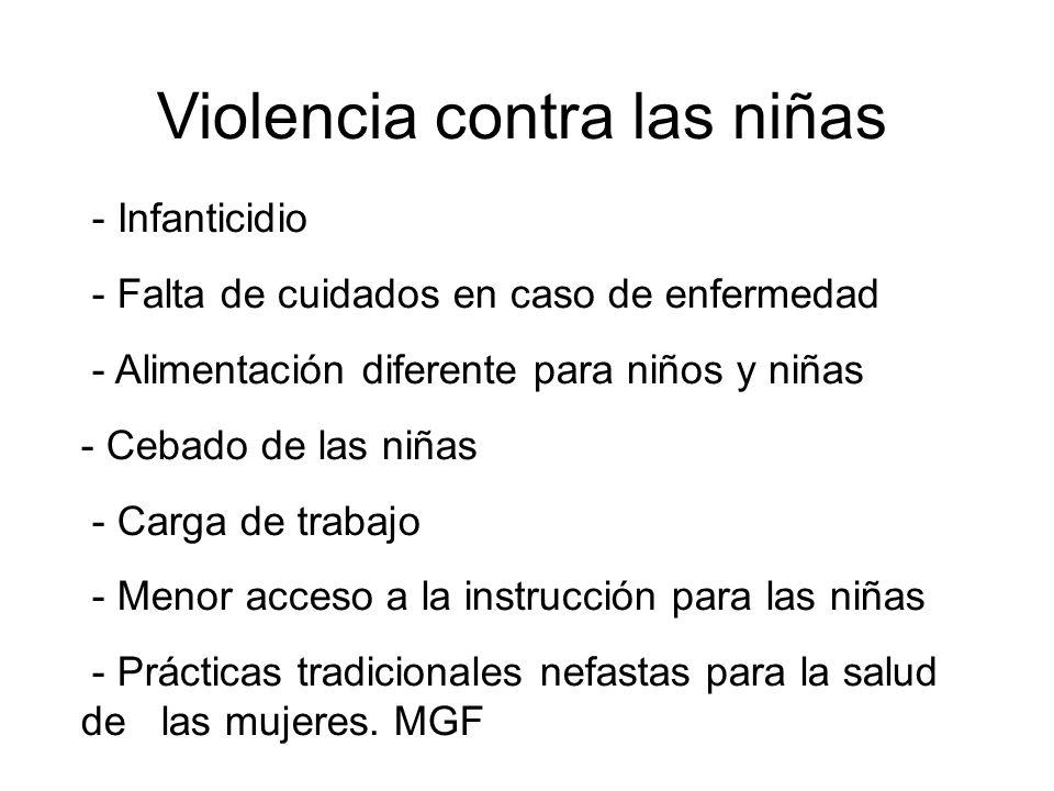 Violencia contra las niñas - Infanticidio - Falta de cuidados en caso de enfermedad - Alimentación diferente para niños y niñas - Cebado de las niñas