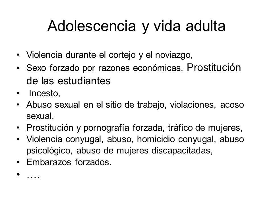 Adolescencia y vida adulta Violencia durante el cortejo y el noviazgo, Sexo forzado por razones económicas, Prostitución de las estudiantes Incesto, A