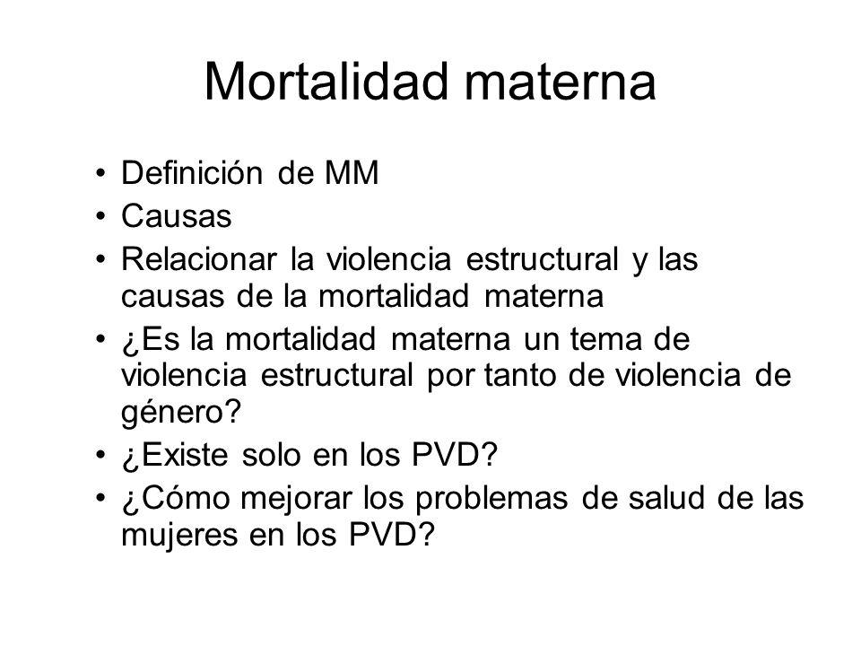 Mortalidad materna Definición de MM Causas Relacionar la violencia estructural y las causas de la mortalidad materna ¿Es la mortalidad materna un tema