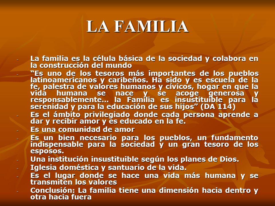 LA FAMILIA - La familia es la célula básica de la sociedad y colabora en la construcción del mundo - Es uno de los tesoros más importantes de los pueb