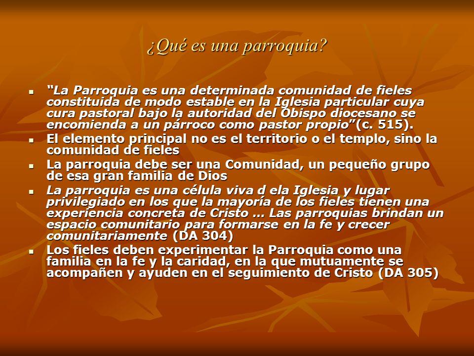 ¿Qué es una parroquia? La Parroquia es una determinada comunidad de fieles constituida de modo estable en la Iglesia particular cuya cura pastoral baj