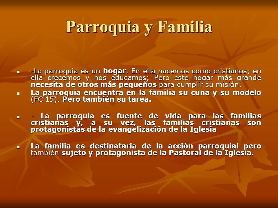 - La parroquia, tiene la misión de ofrecer acompañamiento, estímulo y alimento espiritual que fortalezca la cohesión familiar, - Una de las principales acciones pastorales es el acompañamiento a las familias.