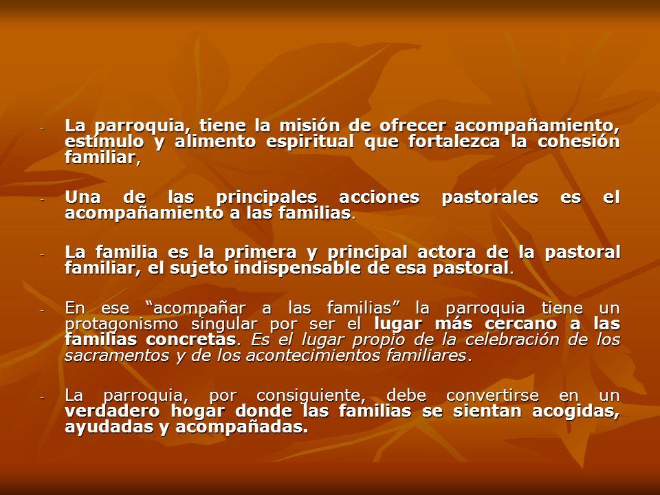 - La parroquia, tiene la misión de ofrecer acompañamiento, estímulo y alimento espiritual que fortalezca la cohesión familiar, - Una de las principale