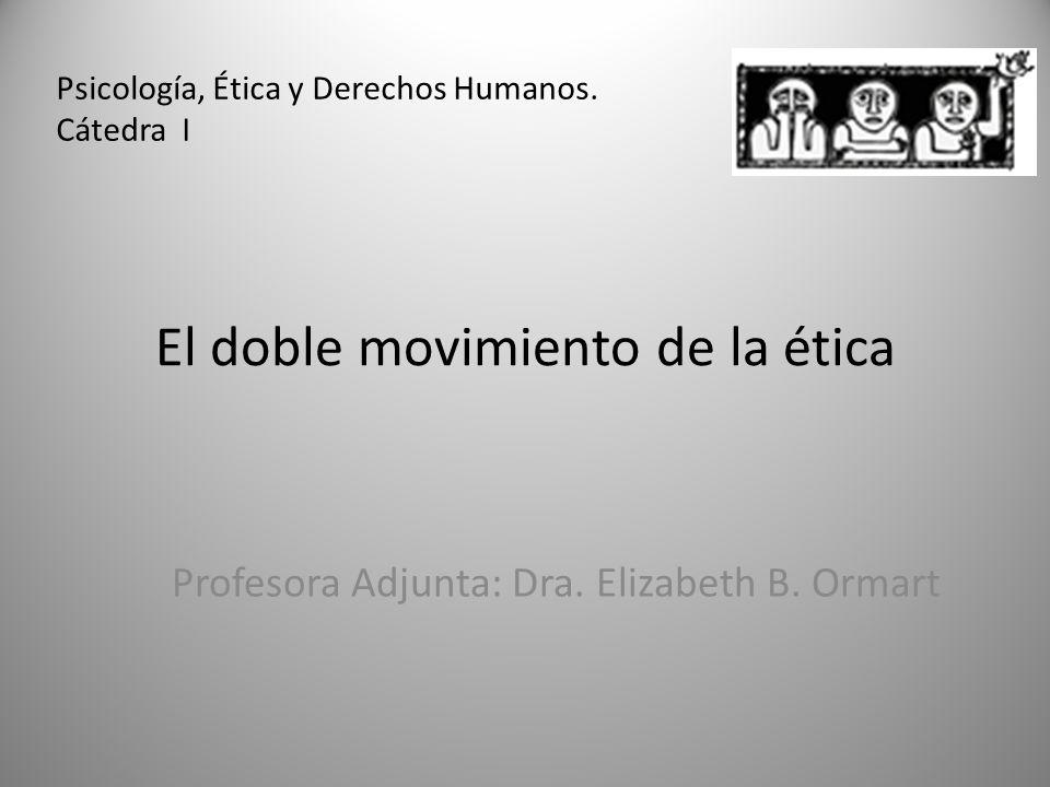El doble movimiento de la ética Profesora Adjunta: Dra. Elizabeth B. Ormart Psicología, Ética y Derechos Humanos. Cátedra I