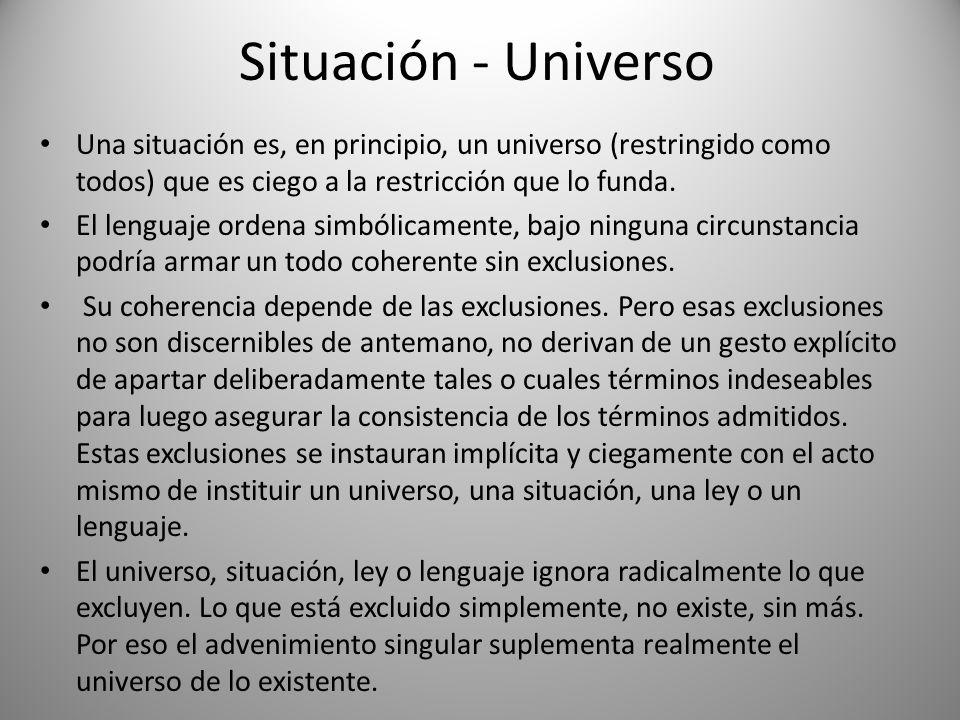 Situación - Universo Una situación es, en principio, un universo (restringido como todos) que es ciego a la restricción que lo funda. El lenguaje orde