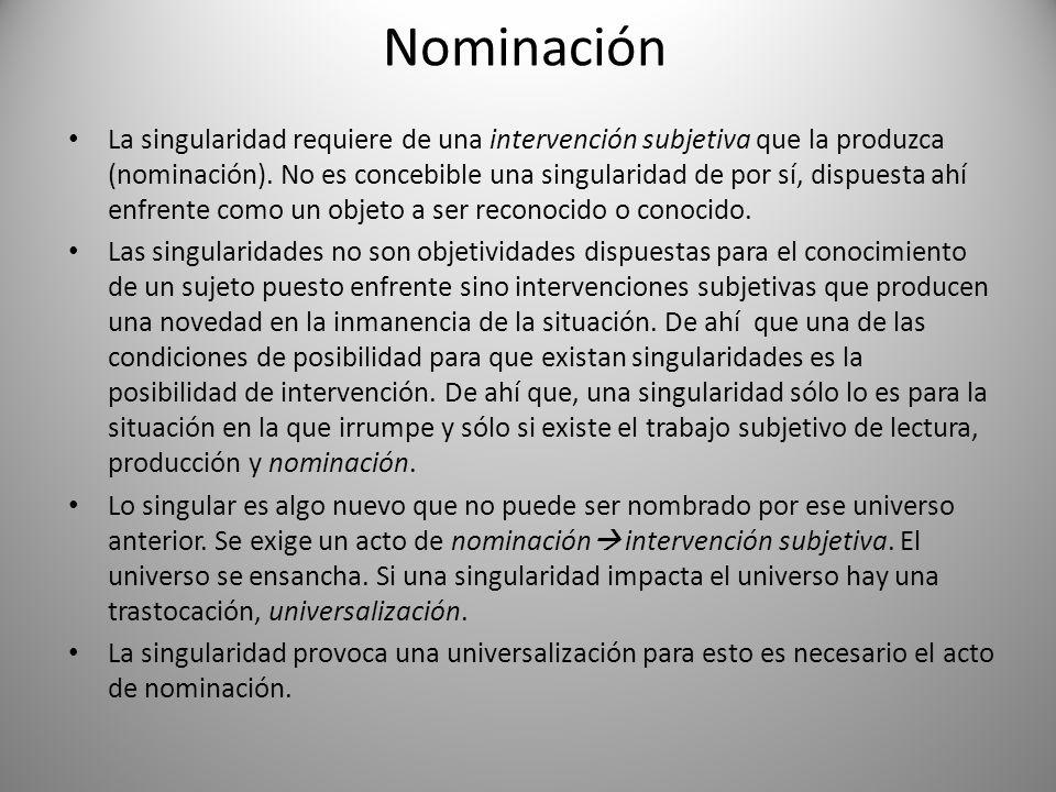 Nominación La singularidad requiere de una intervención subjetiva que la produzca (nominación). No es concebible una singularidad de por sí, dispuesta