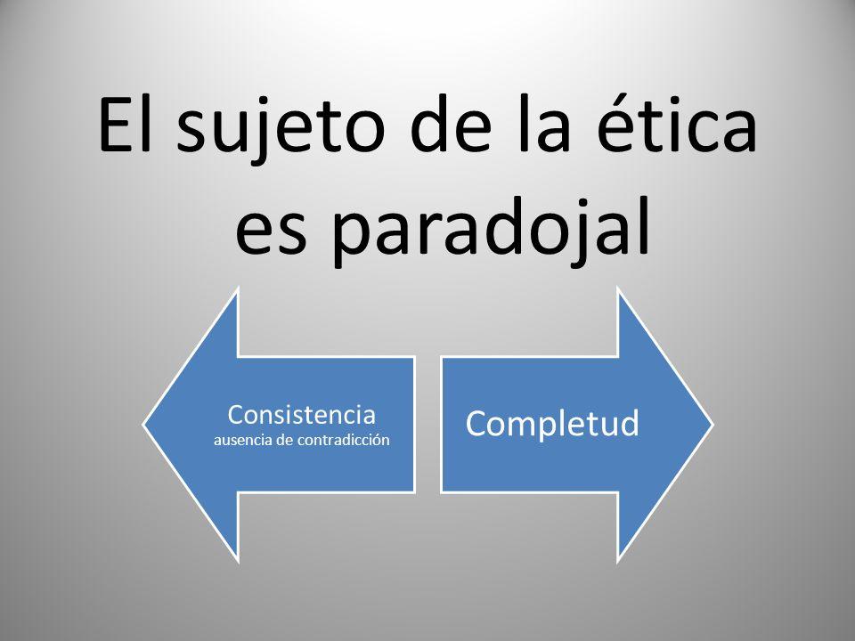 El sujeto de la ética es paradojal Consistencia ausencia de contradicción Completud