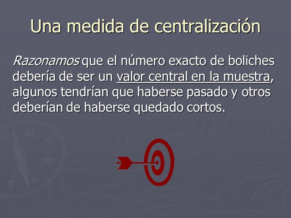 Una medida de centralización Razonamos que el número exacto de boliches debería de ser un valor central en la muestra, algunos tendrían que haberse pasado y otros deberían de haberse quedado cortos.