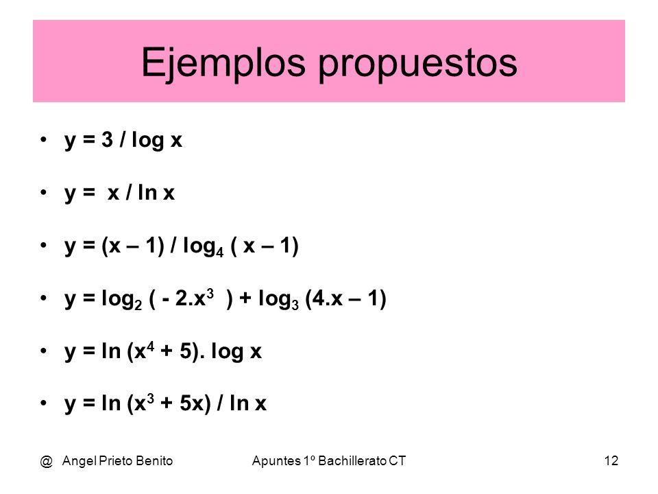 @ Angel Prieto BenitoApuntes 1º Bachillerato CT12 Ejemplos propuestos y = 3 / log x y = x / ln x y = (x – 1) / log 4 ( x – 1) y = log 2 ( - 2.x 3 ) +