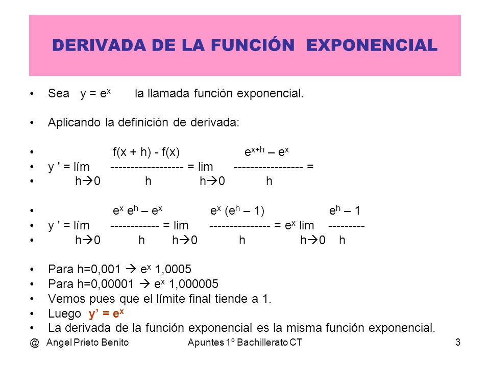 @ Angel Prieto BenitoApuntes 1º Bachillerato CT14 EJEMPLOS y = x 3 – x ln y = (3 – x).ln x y / y = [ (– 1).ln x + (3 – x).1/x ] y = y.[…] y = (ln x) x ln y = x.ln(ln x) y / y = [ 1.ln(ln x) + x.(1/x)/ln x ] y = y.[…] y = (x 2 – 3.x) 2.x – 1 ln y = (2.x – 1).ln (x 2 – 3.x) y / y = [ 2.