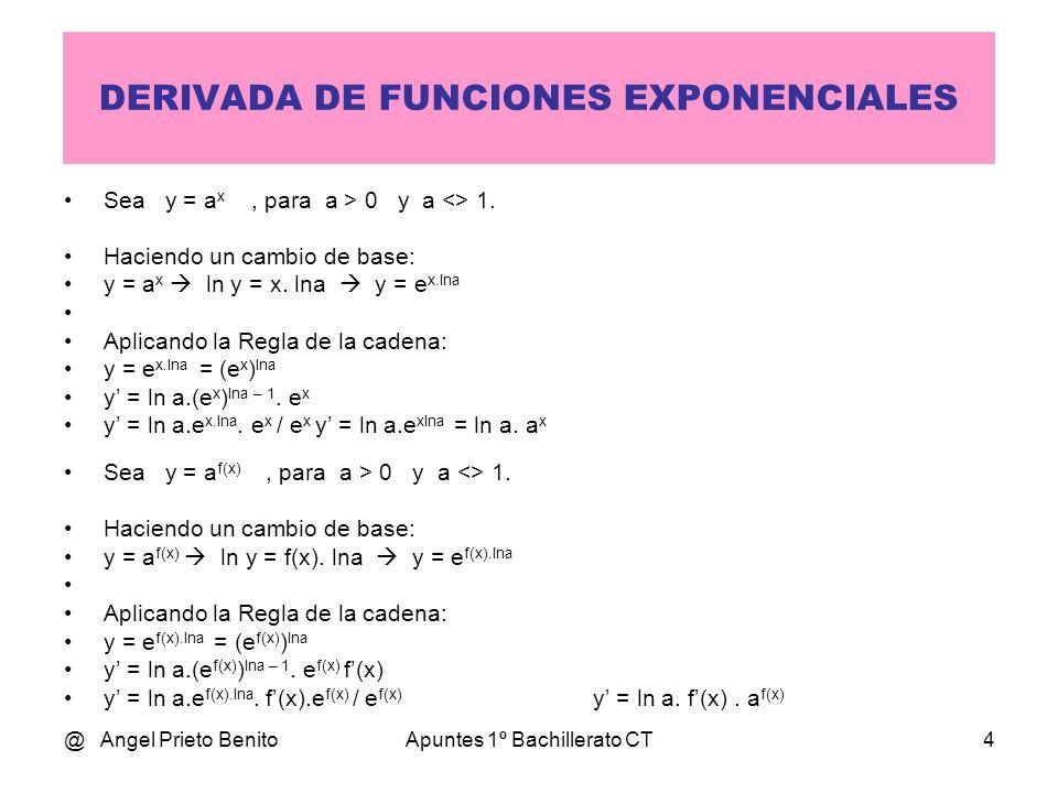 @ Angel Prieto BenitoApuntes 1º Bachillerato CT4 DERIVADA DE FUNCIONES EXPONENCIALES Sea y = a x, para a > 0 y a <> 1. Haciendo un cambio de base: y =