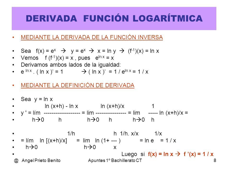 @ Angel Prieto BenitoApuntes 1º Bachillerato CT9 DERIVADA FUNCIÓN LOGARÍTMICA Sea f(x) = log x Se procede a un cambio de base: 10 y = x ln10 y = lnx y ln10 = Ln x y = ln x / ln 10 Queda: 1 1 1 1 f(x) = -------.lnx f (x) = -------.