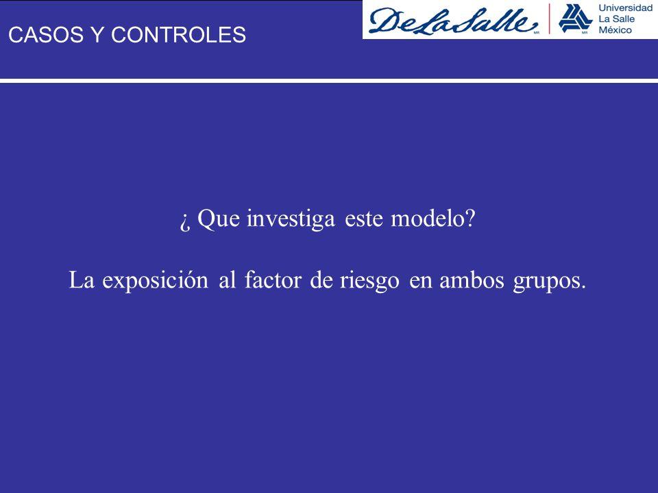 ¿ Que investiga este modelo? La exposición al factor de riesgo en ambos grupos. CASOS Y CONTROLES