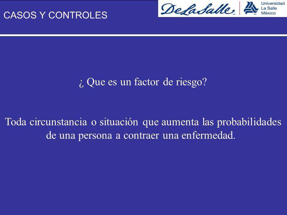¿ Que es un factor de riesgo? Toda circunstancia o situación que aumenta las probabilidades de una persona a contraer una enfermedad. CASOS Y CONTROLE