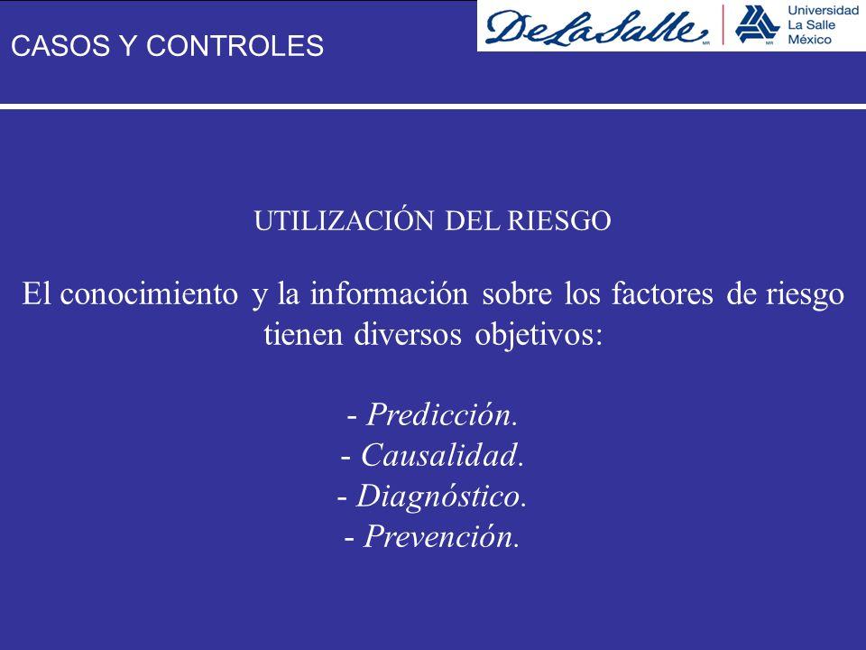 UTILIZACIÓN DEL RIESGO El conocimiento y la información sobre los factores de riesgo tienen diversos objetivos: - Predicción. - Causalidad. - Diagnóst