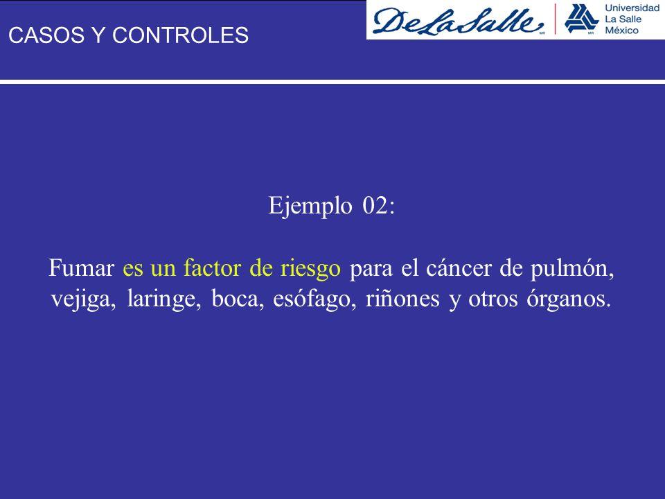 Ejemplo 02: Fumar es un factor de riesgo para el cáncer de pulmón, vejiga, laringe, boca, esófago, riñones y otros órganos. CASOS Y CONTROLES