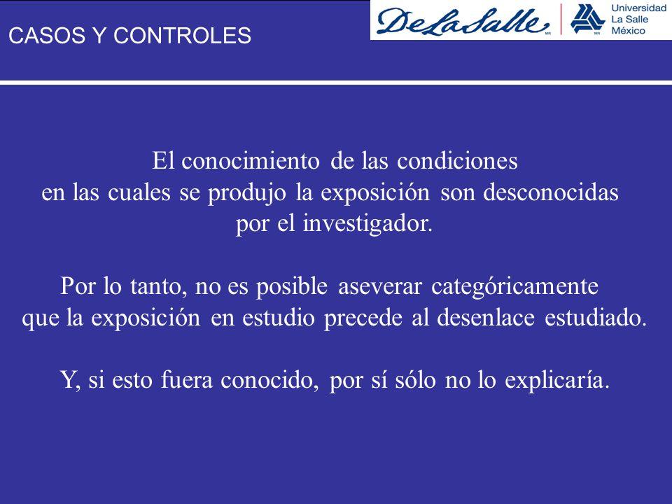 El conocimiento de las condiciones en las cuales se produjo la exposición son desconocidas por el investigador. Por lo tanto, no es posible aseverar c