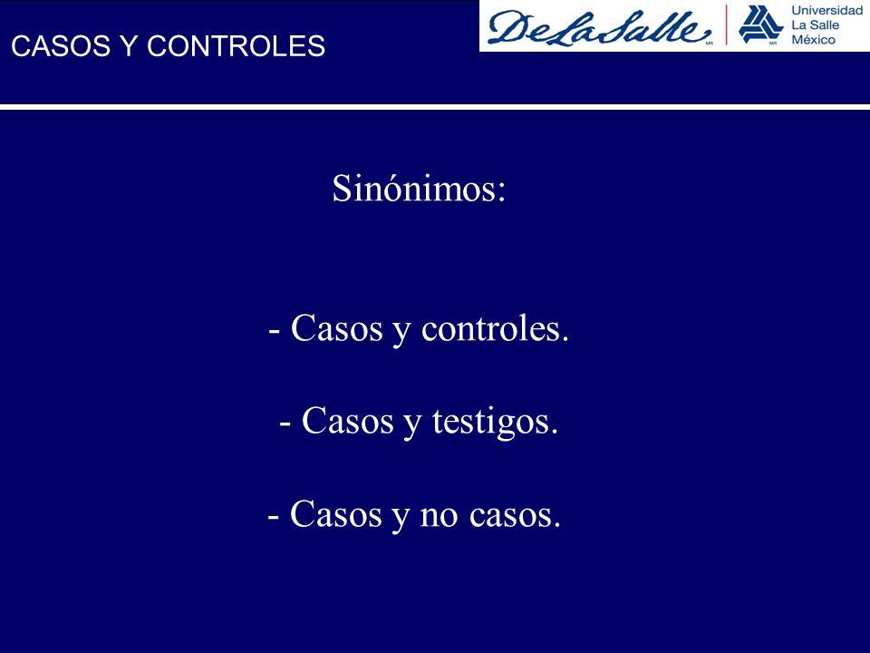 Sinónimos: - Casos y controles. - Casos y testigos. - Casos y no casos. CASOS Y CONTROLES