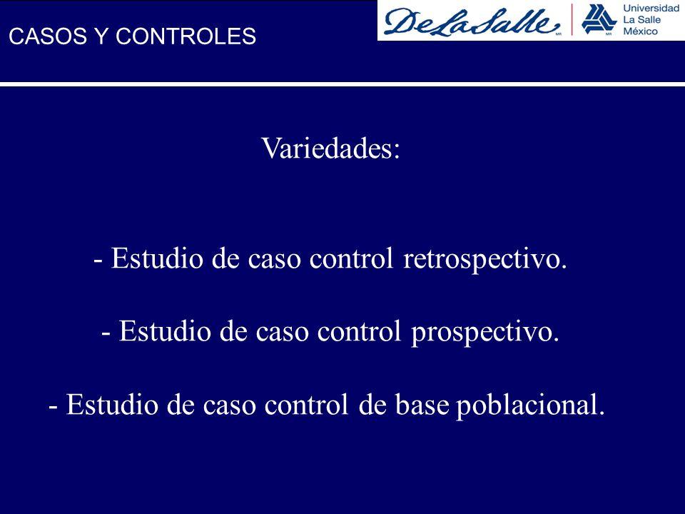 Variedades: - Estudio de caso control retrospectivo. - Estudio de caso control prospectivo. - Estudio de caso control de base poblacional. CASOS Y CON