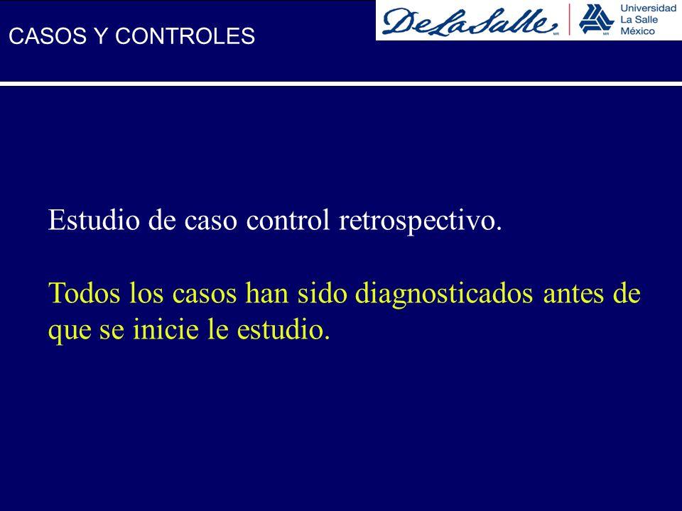 Estudio de caso control retrospectivo. Todos los casos han sido diagnosticados antes de que se inicie le estudio. CASOS Y CONTROLES