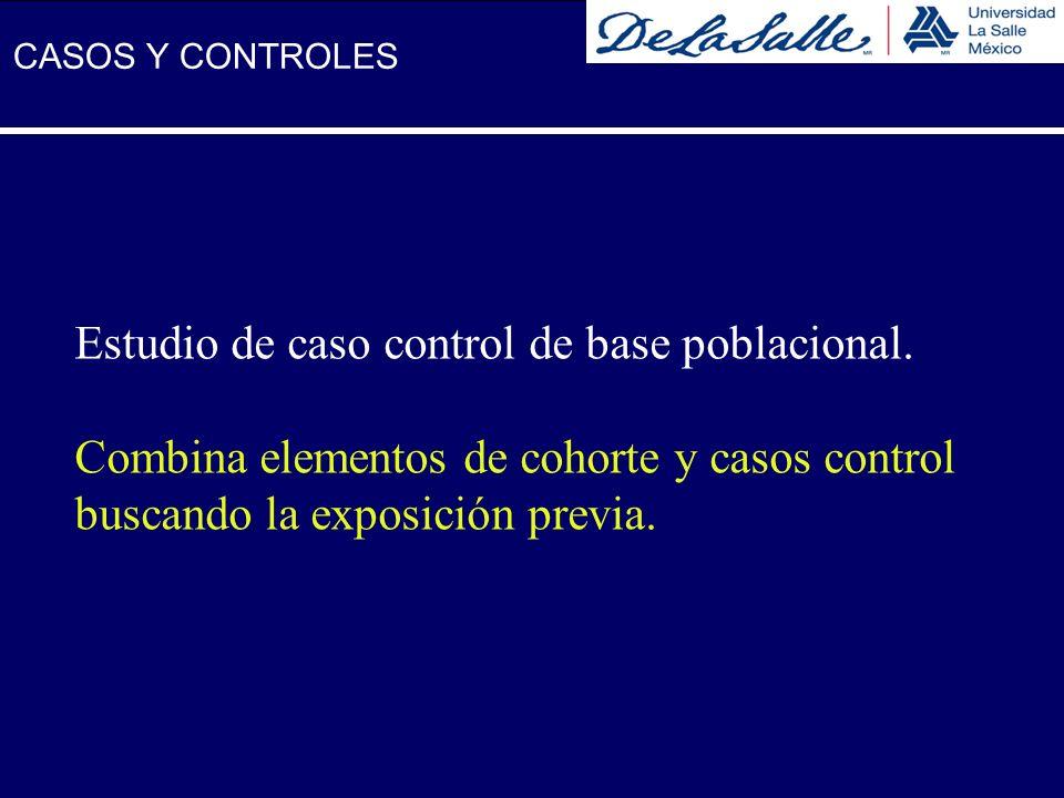 Estudio de caso control de base poblacional. Combina elementos de cohorte y casos control buscando la exposición previa. CASOS Y CONTROLES