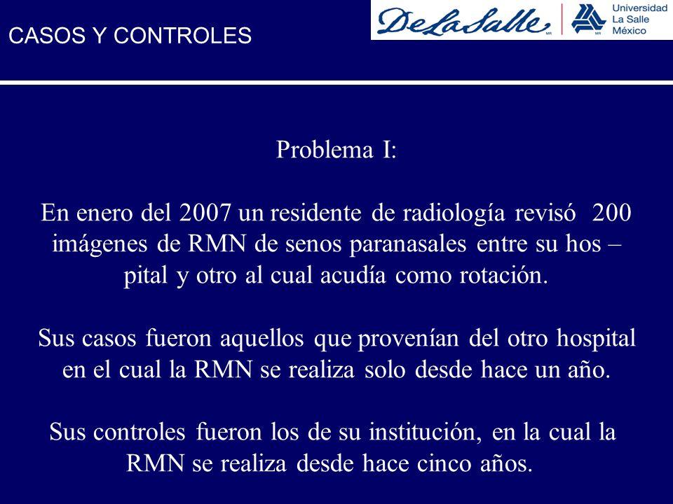 Problema I: En enero del 2007 un residente de radiología revisó 200 imágenes de RMN de senos paranasales entre su hos – pital y otro al cual acudía co