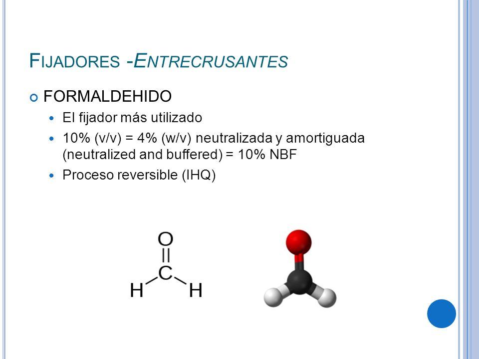 F IJADORES -E NTRECRUSANTES FORMALDEHIDO El fijador más utilizado 10% (v/v) = 4% (w/v) neutralizada y amortiguada (neutralized and buffered) = 10% NBF
