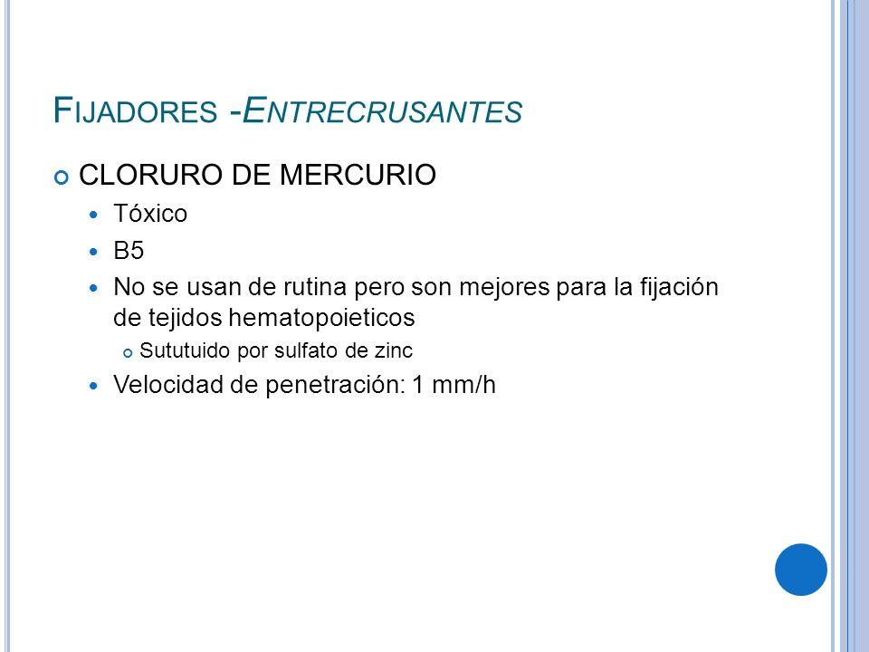 F IJADORES -E NTRECRUSANTES CLORURO DE MERCURIO Tóxico B5 No se usan de rutina pero son mejores para la fijación de tejidos hematopoieticos Sututuido