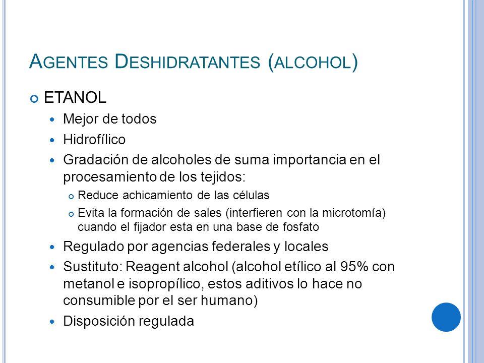 A GENTES D ESHIDRATANTES ( ALCOHOL ) ETANOL Mejor de todos Hidrofílico Gradación de alcoholes de suma importancia en el procesamiento de los tejidos: