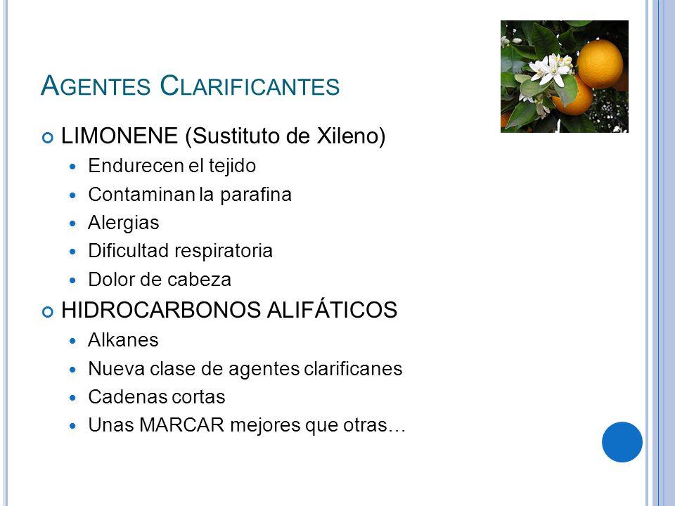 A GENTES C LARIFICANTES LIMONENE (Sustituto de Xileno) Endurecen el tejido Contaminan la parafina Alergias Dificultad respiratoria Dolor de cabeza HID