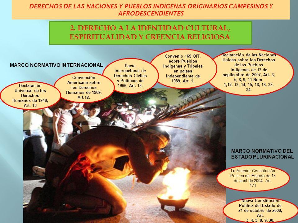 DERECHOS DE LAS NACIONES Y PUEBLOS INDIGENAS ORIGINARIOS CAMPESINOS Y AFRODESCENDIENTES MARCO NORMATIVO INTERNACIONAL MARCO NORMATIVO DEL ESTADO PLURINACIONAL Declaración de las Naciones Unidas sobre los Derechos de los Pueblos Indígenas de 13 de septiembre de 2007, Artículos: 3, 4, 5, 14, 16, 20, 23, 33, 34 y 35.