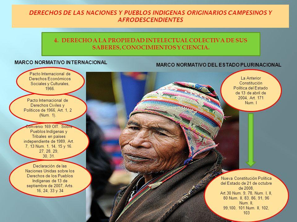 DERECHOS DE LAS NACIONES Y PUEBLOS INDIGENAS ORIGINARIOS CAMPESINOS Y AFRODESCENDIENTES MARCO NORMATIVO INTERNACIONAL MARCO NORMATIVO DEL ESTADO PLURINACIONAL La Anterior Constitución Política del Estado de 13 de abril de 2004, Art.