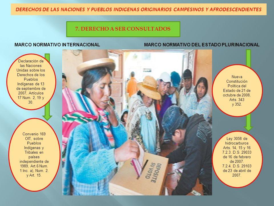 DERECHOS DE LAS NACIONES Y PUEBLOS INDIGENAS ORIGINARIOS CAMPESINOS Y AFRODESCENDIENTES MARCO NORMATIVO INTERNACIONAL MARCO NORMATIVO DEL ESTADO PLURINACIONAL Declaración de las Naciones Unidas sobre los Derechos de los Pueblos Indígenas de 13 de septiembre de 2007, Arts.