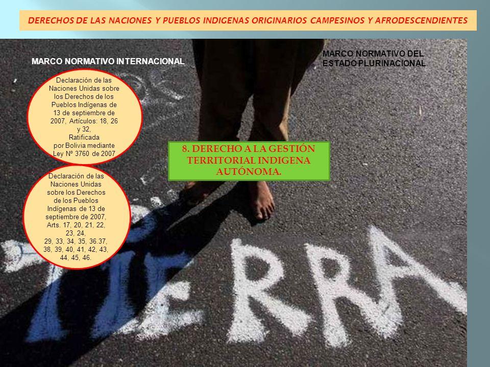 DERECHOS DE LAS NACIONES Y PUEBLOS INDIGENAS ORIGINARIOS CAMPESINOS Y AFRODESCENDIENTES MARCO NORMATIVO INTERNACIONAL MARCO NORMATIVO DEL ESTADO PLURINACIONAL Declaración de las Naciones Unidas sobre los Derechos de los Pueblos Indígenas de 13 de septiembre de 2007, Art.
