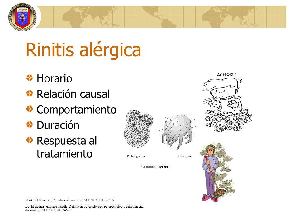 Rinitis alérgica Horario Relación causal Comportamiento Duración Respuesta al tratamiento Mark S. Dykewicz, Rhinitis and sinusitis, JACI 2003; 111:S52