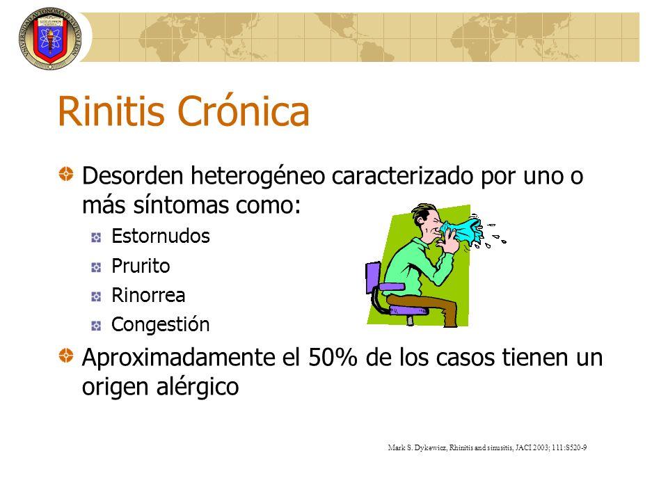 Rinitis Crónica Desorden heterogéneo caracterizado por uno o más síntomas como: Estornudos Prurito Rinorrea Congestión Aproximadamente el 50% de los c