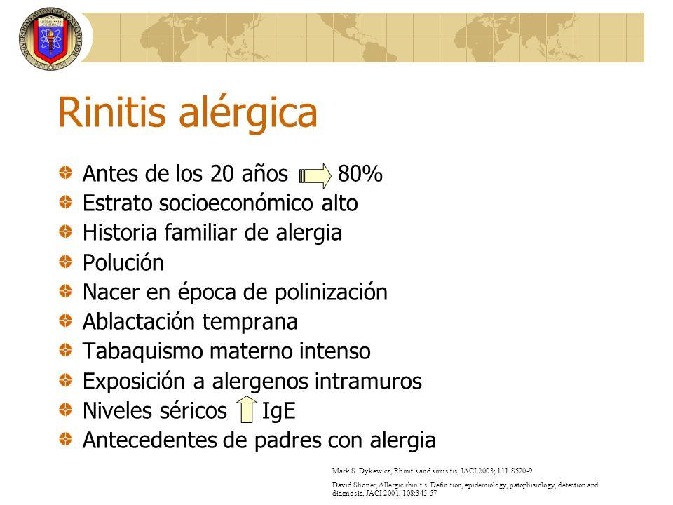 Rinitis alérgica Afecta aproximadamente al 20% de la población La manifestación clínica depende de la duración de la exposición al alergeno y de la edad del paciente Sacre HJA, Rinitis crónica, Alrgia e Inmunol Pediatr 2005; 14(1):10-17