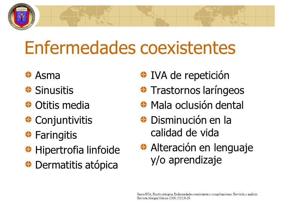 Enfermedades coexistentes Asma Sinusitis Otitis media Conjuntivitis Faringitis Hipertrofia linfoide Dermatitis atópica IVA de repetición Trastornos la