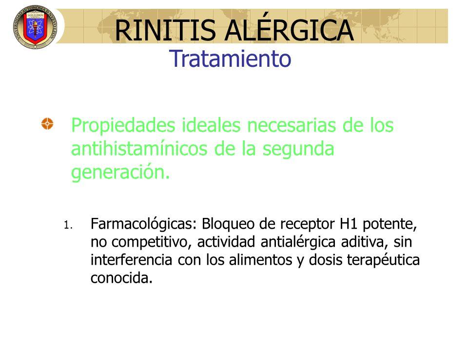 Propiedades ideales necesarias de los antihistamínicos de la segunda generación. 1. Farmacológicas: Bloqueo de receptor H1 potente, no competitivo, ac